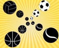 Volata delle palle di sport Immagini Stock