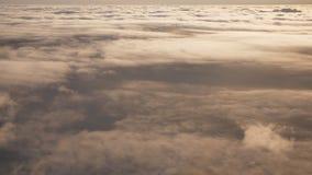 Volata e viaggiare, vista dalla finestra dell'aeroplano sull'ala su tempo di tramonto video d archivio