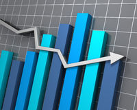 Volatile business chart. 3D rendered image of a very unstable statistical trend Royalty Free Stock Images