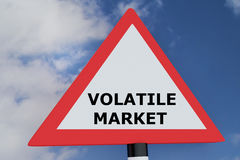 Volatile Market concept. 3D illustration of VOLATILE MARKET script on road sign. Business concept Stock Photo