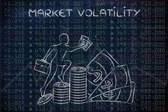 Volatilidad de mercado: resultados del funcionamiento con el profesor que sube del comerciante Fotografía de archivo libre de regalías