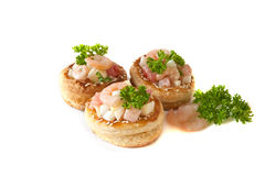 Volauvents with shrimp salad Stock Image