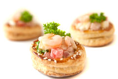 Volauvents with shrimp salad Royalty Free Stock Images
