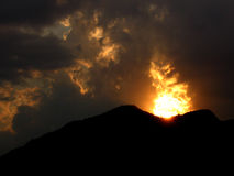 Volcán de la puesta del sol Foto de archivo