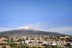 Volcán del Etna del montaje en la acción Fotos de archivo
