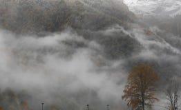Volcán en niebla Fotografía de archivo libre de regalías