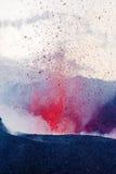 Volcán islandés que entra en erupción Imagen de archivo libre de regalías