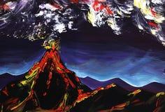 volcán Pintura abstracta del impresionismo Pintado a mano con aguazo en un papel imagen de archivo