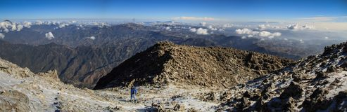 Panoramic view from the Tajumulco summit on the Sierra Madre, San Marcos, Altiplano, Guatemala Royalty Free Stock Images
