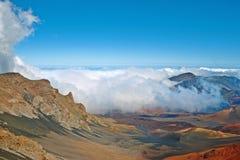 Volcán y cráter Maui Hawaii de Haleakala Foto de archivo libre de regalías