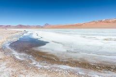 Volcà ¡ n Pilli和结冰的Pilli湖-阿塔卡马沙漠 免版税库存图片
