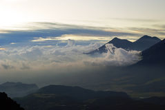 Volcan Acatenango and Volcan Fuego royalty free stock images