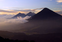 Volcan Acatenango and Volcan Fuego at Sunset Royalty Free Stock Image