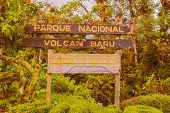 Volcan Bar park narodowy podpisuje wewnątrz Panama Zdjęcie Stock