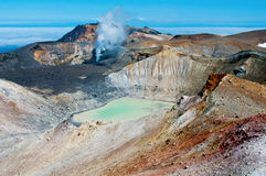 Volcan d'Ebeko, île de Paramushir, Russie Image stock