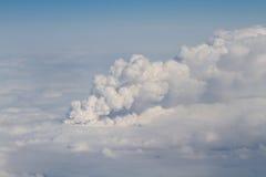 Volcan d'Eyjafjallajokull vu de l'avion de ligne Image stock