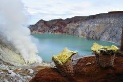 Volcan d'Ijen, Java, Indonésie Images libres de droits