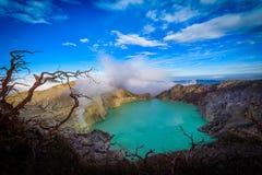 Volcan de Kawah Ijen avec les arbres morts sur le fond de ciel bleu dans Jav Images stock