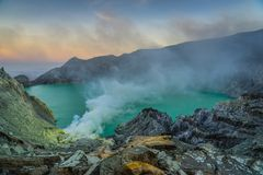 Volcan de Kawah Ijen sur Java images libres de droits