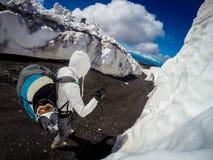Volcan de l'Etna de support dans l'action l'Italie, Sicilia Image stock