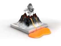 Volcan de montagne de cratère et lave d'éruption, éruption naturelle chaude, illustration 3d Photo libre de droits
