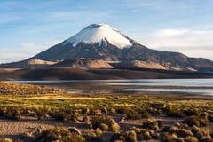 Volcan de Parinacota, lac Chungara, Chili Images libres de droits