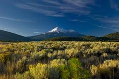 Volcan de Shasta de support recouvert par neige dominant haut Photographie stock