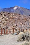 Volcan, El Teide, Tenerife. Generic view to Teide within national park and hiking area with fence Royalty Free Stock Images