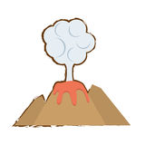 volcan eruption lava mountain cloud color sketch Royalty Free Stock Photography