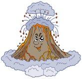 Volcan fâché de dessin animé illustration stock