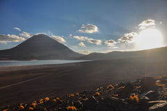 Volcan Licancabur with Gorgeous landscapes of Sur Lipez, South B Stock Photos