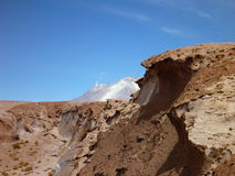 Volcan ollaque at bolivian altiplano Stock Photography