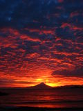 Volcan Osorno at dawn. As seen from Puerto Varas, Chile Stock Image