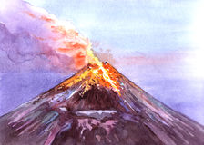 Volcan réaliste d'aquarelle d'isolement sur un blanc illustration stock