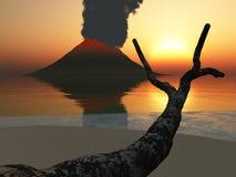Volcan rougeoyant au crépuscule Images stock