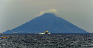 The volcan stromboli seen from the island of panarea. stock image