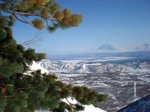 Volcanes de la península de Kamchatka Foto de archivo libre de regalías