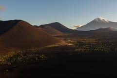 Volcanes y madera muerta en el amanecer - consecuencia del lanzamiento catastrófico de la ceniza durante la erupción del volcán e fotografía de archivo