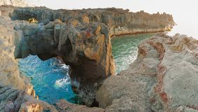Volcanic arch panorama in Ponta da Ferraria stock photography