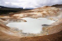 Volcanic area. Krafla volcanic area in northern Iceland. Sulfur lake Stock Photos
