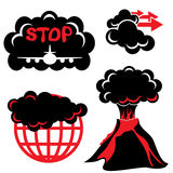 Volcanic ash. Cloud of volcanic ash. Two-color silhouette icons stock illustration