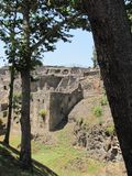 Sweltering heat rises over the ruins of Pompeii in Italy. Volcanic ash, broken buildings, shattered columns and stone streets are all that`s left in the ruins royalty free stock photos