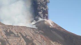 Volcanic ash emission. Violent eruption of the volcano Etna (Southast Crater - October 26, 2013 stock video footage