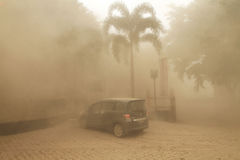 Volcanic ash from mount kelud eruption. INDONESIA, SOLO : SOLO, INDONESIA – FEBRUARY 14: Solo city of Central Java suffering the volcanic ashes royalty free stock image