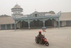 Volcanic ash from mount kelud eruption covered surakarta palace Stock Photos
