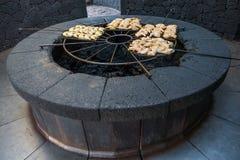 Volcanic barbecue, Parque Nacional de Timanfaya, Lanzarote, Spai Royalty Free Stock Image