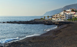 Volcanic beach with black sand. Volcanic beach in Tenerife, Playa de la Arena Royalty Free Stock Photos