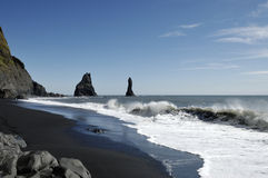 Volcanic beach in Iceland. Royalty Free Stock Photo