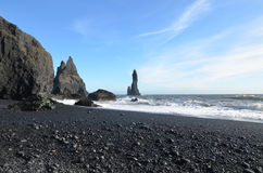 Volcanic Black Rock Beach in Southern Vik Iceland Stock Photography