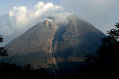 VOLCANIC BLESSING. Volcano Merapi area at the time of the 2010 eruption of the Volcano at Java, Indonesia. Frequent eruptions from one of the most active volcano royalty free stock photo